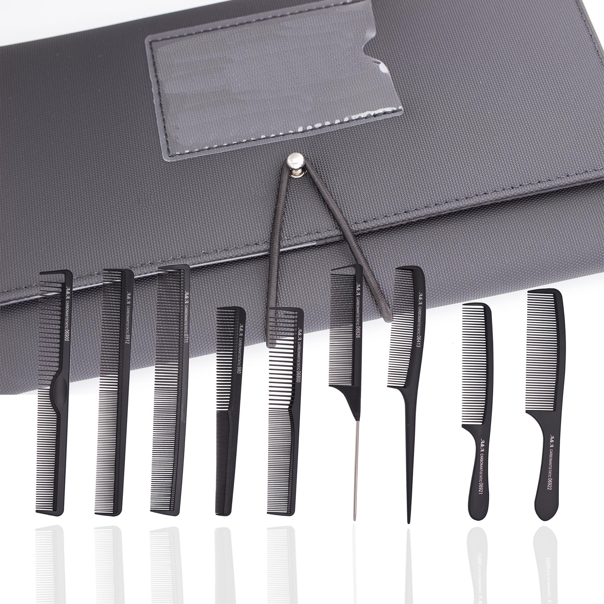 A&A Hair Beauty Kamm Tasche GRATIS - 9er SET Kämme mit Etui für Ihre Visitenkarte Tasche Friseur Fri