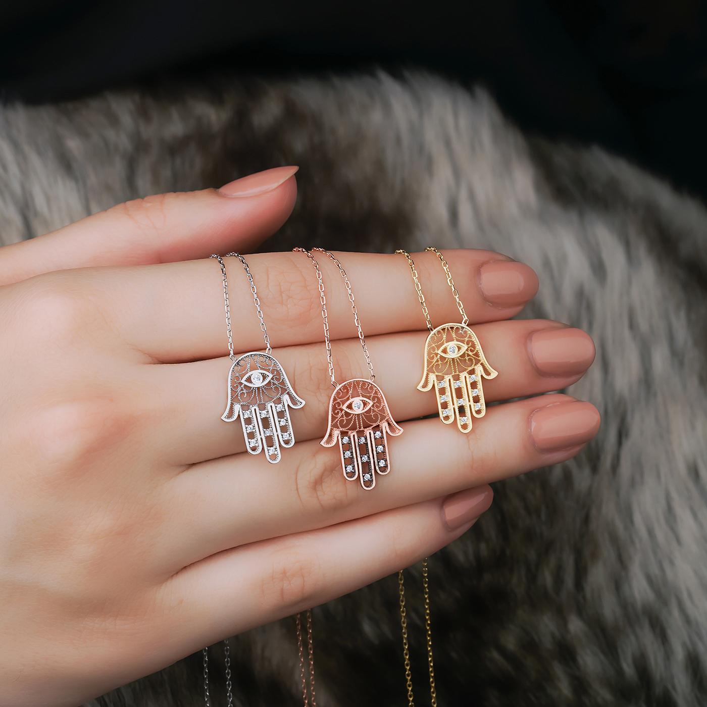 ALMIRA 925 Sterling Silber Damen Halskette Fatimas Hand Silberschmuck Zirkonia