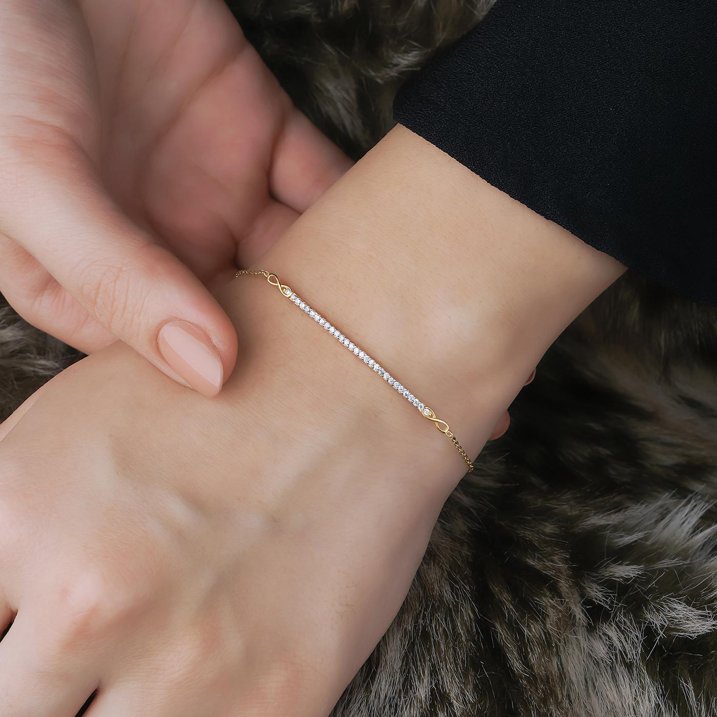 ALMIRA 925 Sterling Silber Damen Armband Infinity Silberschmuck Zirkonia
