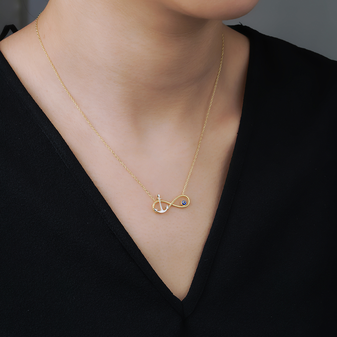 ALMIRA 925 Sterling Silber Damen Halskette Ankerkette Infinity Silberschmuck Augenkette Zirkonia Anh