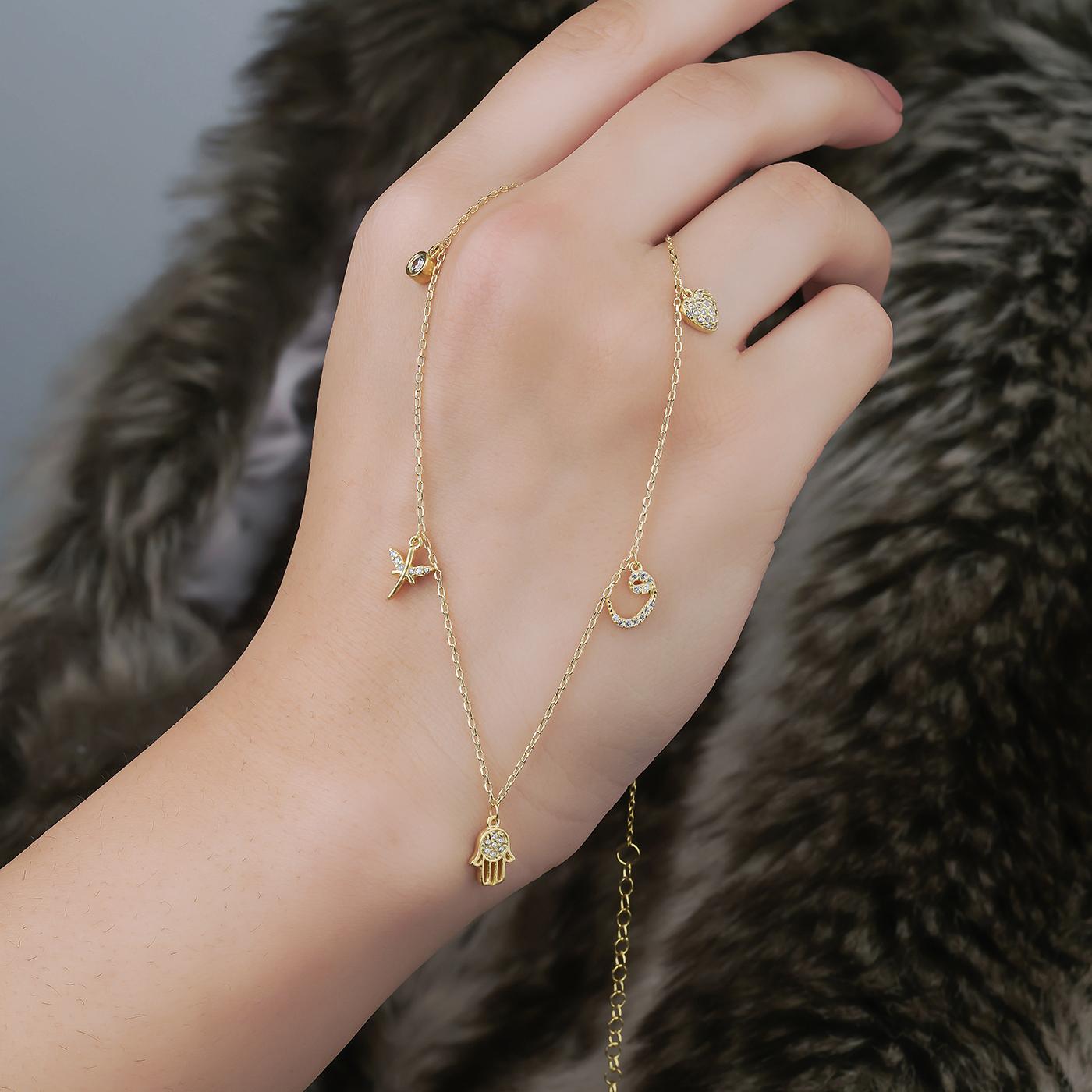 ALMIRA 925 Sterling Silber Damen Halskette Glückskette Anhänger Silberschmuck Zirkonia