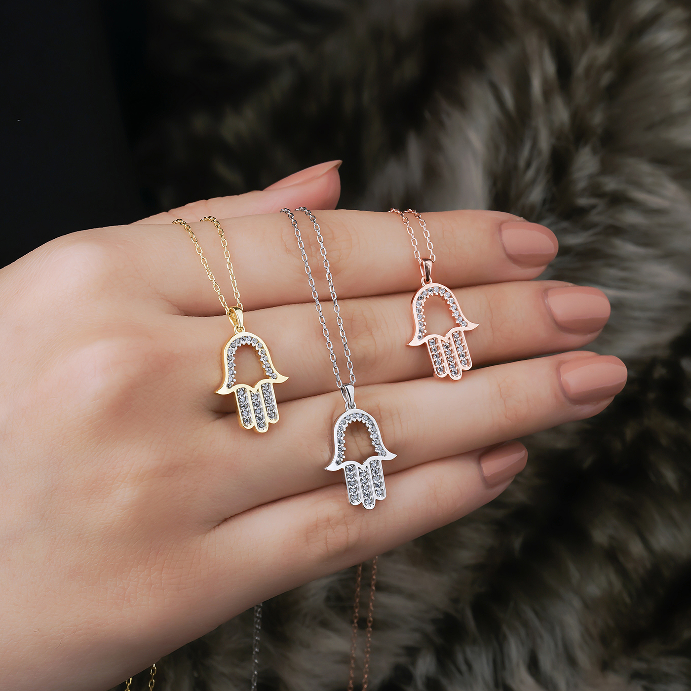 ALMIRA 925 Sterling Silber Damen Halskette Fatimas Hand Strass Zirkonia Silberschmuck