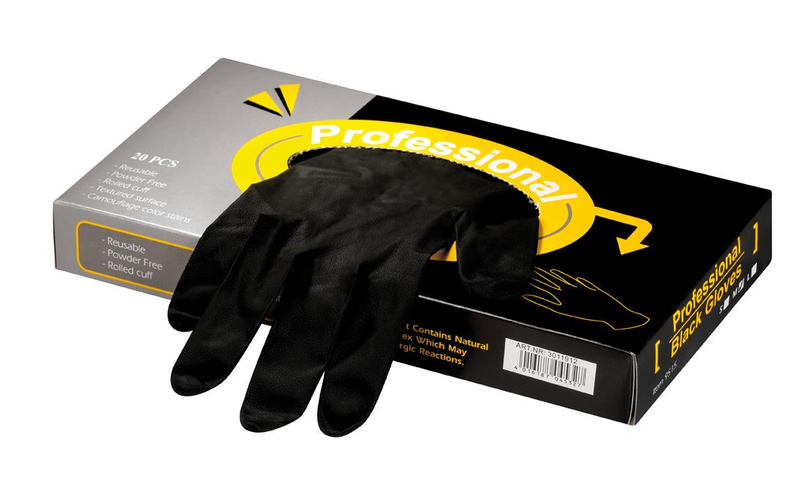 HS Latex groß 20St sz Professional Black Gloves Latexhandschuhe