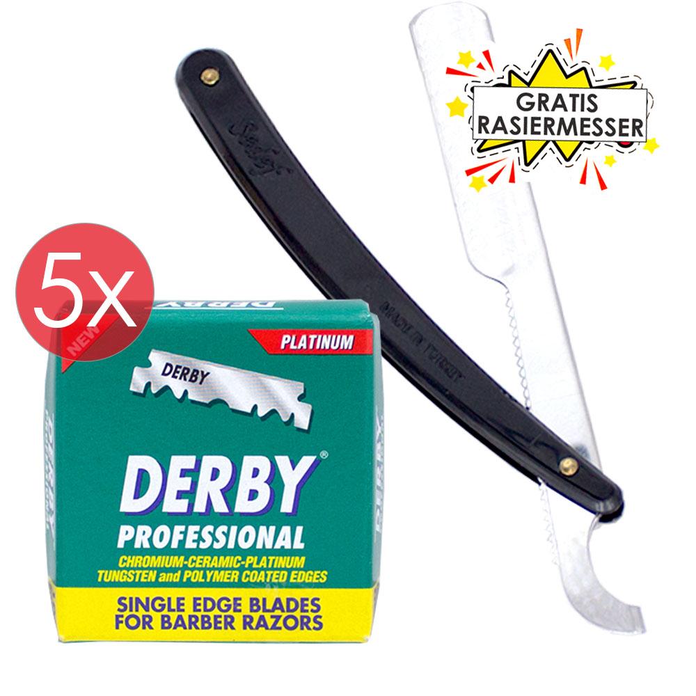 Derby Professional Barber 500 Stück einseitige Rasierklingen GRATIS Rasiermesser