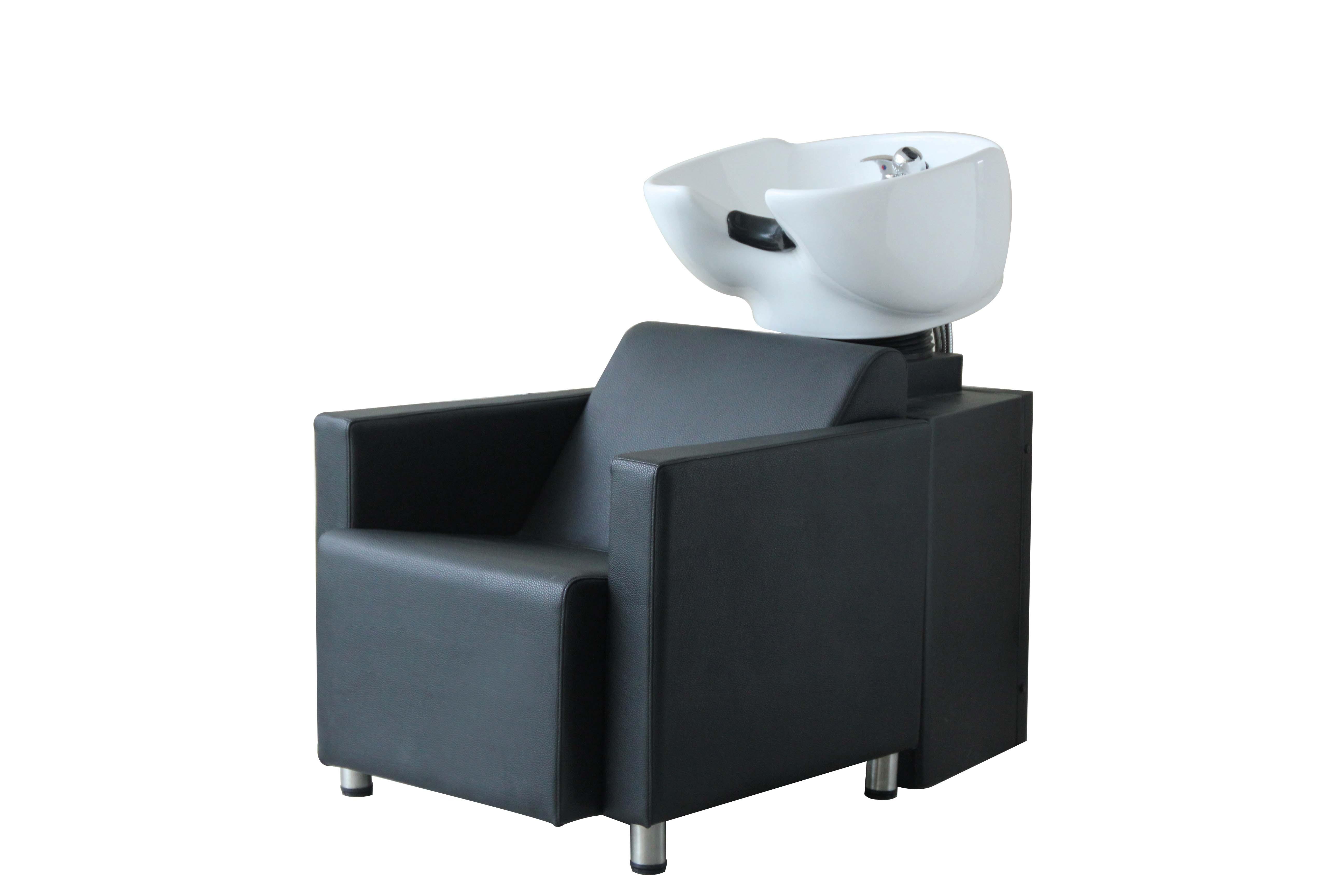 WP New York schwarz separate      Waschsäule und Sessel, weißes Keramikb.