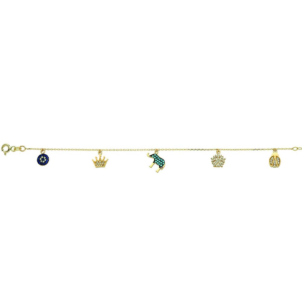ALMIRA 925 Sterling Silber Glücksarmband verschiedene Anhänger Armband Nazar Auge Schneeflocke Gold