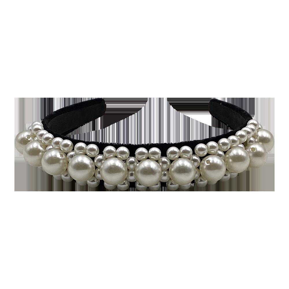Haarreifen aus Samt mit Perlen