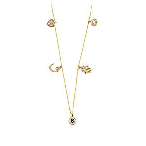 ALMIRA 925 Sterling Silber Damen Halskette Glückskette Anhänger Silberschmuck