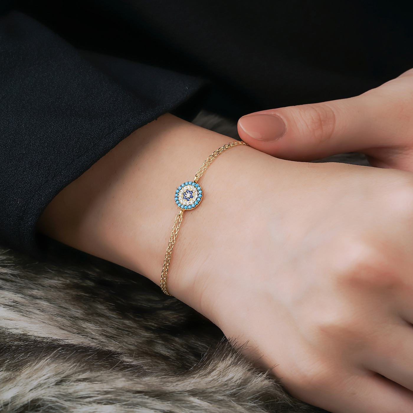 ALMIRA 925 Sterling Silber Damen Armband Nazarauge Silberschmuck Zirkonia