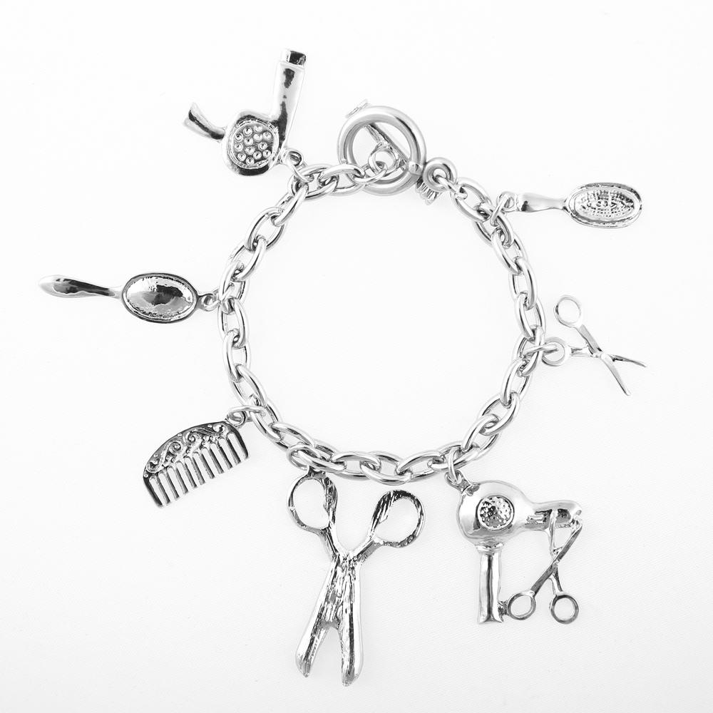 Modeschmuck Armschmuck Armband Schere Kamm Spiegel Anhänger